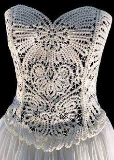 The Wedding Dress - The Concept Romanian Lace, Irish Crochet, Crochet Lace Tops, Crochet Lace Dress, Crochet Wedding Dresses, Crochet Irlandés, Freeform Crochet, Crochet Motifs, Crochet Blouse
