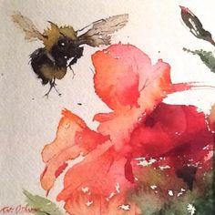 Bathroom art The Bee's Reverie ≗ Kate Osborne, bee and flower watercolor Watercolor Animals, Watercolor Flowers, Watercolor Paintings, Watercolor Images, Watercolours, Illustrations, Illustration Art, Bee Art, Arte Floral