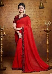 Party Wear Georgette Red Lace Border Work Saree