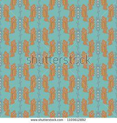 Stockvektor 1105612892 med Seamless Decorative Pattern Goldfishes On Opposite (royaltyfri) Japanese Patterns, Goldfish, Fishing Lures, Illustration, Image, Decor, Art, Pictures, Fishing Jig