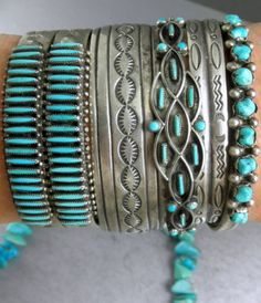 Wide Dead Pawn Vintage Stamped Navajo AJ Blackgoat Cuff Bracelet. Turquoise and silver bracelets