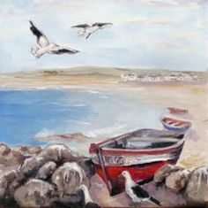 """My painting """"Facts of Flight 2 - Paternoster"""" x Available at Perels en Pampoene, Hopefield Sea Paintings, Landscape Paintings, South African Art, My Land, Acrylics, West Coast, Boats, Beautiful Places, Artists"""