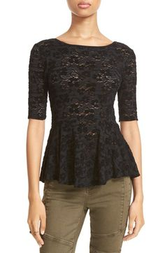 Free shipping and returns on Free People 'Second Chance' Peplum Top at Nordstrom.com. Velveteen chenille lace and a peplum hem lend feminine charm to a slim-fitting top cut with an exposed back and elbow-length sleeves.