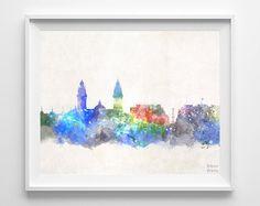 Lima Skyline Peru Poster Watercolor Cityscape City by InkistPrints