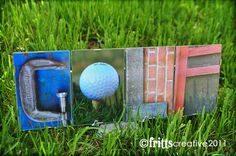 GOLF Alphabet Photography 4 letter Word Plate Perfect Gfit for Dad  (Framed)