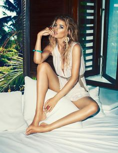 H High Summer 2013  Models Doutzen Kroes Tyson Ballou Photographer Terry Richardson Sensual Summer White Sleeveless Lace Dress Belted Turquoise Bracelet Ring Earrings