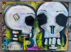 9x12 Skulls For Sale Acrylic Original Painting by JenChipperfield, $150.00