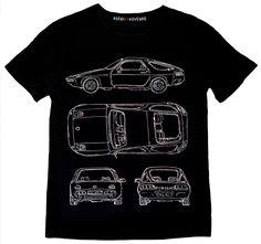 Black Mens T-shirt with Porsche