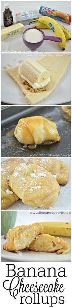 Factors You Need To Give Thought To When Selecting A Saucepan Banana Cheesecake Rollups From Thecardswedrew Easy Desserts, Delicious Desserts, Dessert Recipes, Yummy Food, Banana Cheesecake, Cheesecake Recipes, Simple Cheesecake, Banana Split Dessert, Banana Recipes