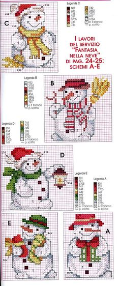 Snowmen made of pearls, accents in glass Cross Stitch: Snowman Patterns Xmas Cross Stitch, Cross Stitch Needles, Cross Stitch Cards, Counted Cross Stitch Patterns, Cross Stitch Designs, Cross Stitching, Cross Stitch Embroidery, Embroidery Patterns, Knitting Patterns