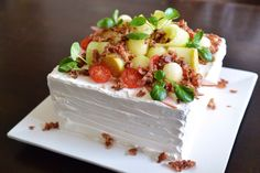 Scandinavian savory sandwichcake. Bacon and honeydew. From cutiepie.fi