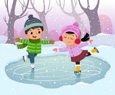 Premium Vector   Cute boy and girl kids ice skating in winter snowy landscape Ice Skating Cartoon, Ice Skating Images, Winter Illustration, Cute Illustration, Art Drawings For Kids, Cute Drawings, Cartoon Kids, Cute Cartoon, Ice Skate Drawing
