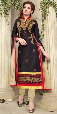 Fantastic Black And Red Cotton Salwar Suit.