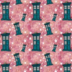 Police Boxes on Watercolor | Strawberry Pink with Gold Swirls custom fabric by bohobear for sale on Spoonflower
