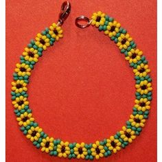 Etsy :: jingjingdesign :: Sunflower Daisy Chain Seed Beads Beaded Bracelet Just Beautiful