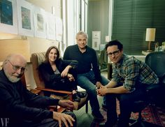 Members of the brain trust behind The Force Awakens: composer John Williams, producer and Lucasfilm president Kathleen Kennedy, co-writer Lawrence Kasdan, and director and co-writer Abrams, photographed at Bad Robot, Abrams's production company, in Santa Monica. PHOTOGRAPH BY ANNIE LEIBOVITZ.