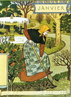 Dessins pour le calendrier de La Belle Jardinière (1896) by Eugène Samuel Grasset (1845–1917), Franco-Swiss decorative artist who worked in a variety of creative design fields and is considered a pioneer in Art Nouveau design (YvetteG - wiki)