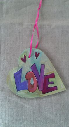 "Hand painted double sided ""hearts and love"" wood ornament 4"" x 4"" on Etsy,"
