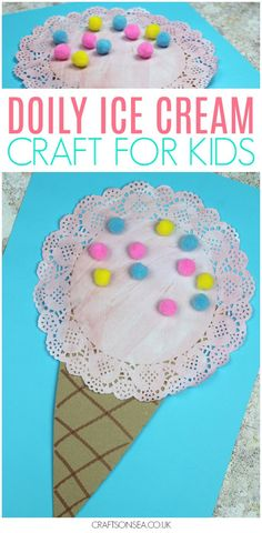 Love summer crafts for kids? This doily ice cream craft might be our new favourite as it's just so cute! It only costs pennies to make as well so it's a great activity for the kids this summer! #kidscraft #kidsactivities #preschool #summer
