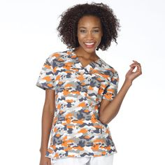 3 Pocket V-Neck Scrub Top - Ghost Camo