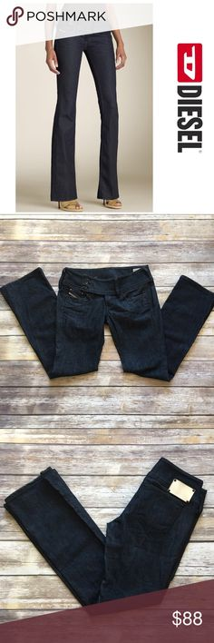 """Diesel Cherock Low Rise Boot Cut Jeans Diesel Cherock Low Rise Boot Cut Jeans. Waist 28""""/ length 30""""/ front rise 8""""/ back rise 11"""". Pic 1 for styling purposes only Diesel Jeans Boot Cut"""
