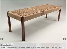 Melanie Hamilton (from Center for Furniture Craftsmanship class).  St John's Newfoundland. East Adams Bench $2900 16 x 50 X 17 inches