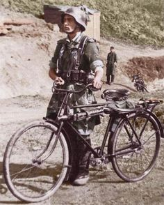 bicycle soldier from the blue division serving with the german army ...