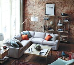 Loft, living room, window treatments, metropolitan style, brick, light.