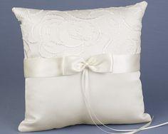 Pillow Embellishment Ideas | Joyful Bride Online : Discount Ivory Satin & Swirls Ring Bearer Pillow