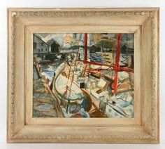 AXELROD, GLOUCESTER SAILBOATS AT DOCK, OIL ON MASONITE 20th C. Modern Design and Fine Art Auction | Kaminski Auctions