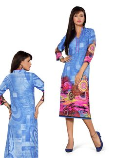 Skyblue printed kurtis http://gunjfashion.com/
