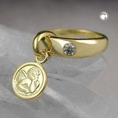 Anhänger, Taufring mit Engel 9Kt GOLD mit Zirkonia im Ring 12x3mm, Gesamtlänge 22mm