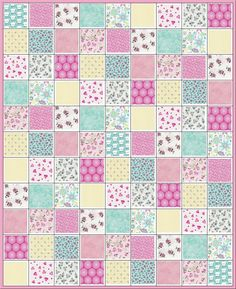 ~Sleep Tight Baby Girl Quilt Kit~ Awww...how cute is this! Sweet, sweet fabrics in aqua, pink and soft yellow. Gingham, rosebuds, posies, hearts..and even the cutest little white puppy dogs..I think Maltese maybe. Your kit includes: All squares (5) to complete your quilt top and the computer generated illustration shown above. Perfect beginner project or for the experienced quilter who is time challenged. All you have to do is sit at your sewing machine and follow the illustration to sew...