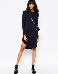 Image 4 of ASOS Midi Dress with Curved Hem