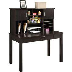 Altra Desk With Organizational Hutch, Espresso