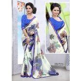 Valentine Fashion White And Blue Fancy Lace Designer Saree