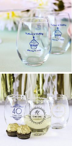 Send your guests home with personalized stemless wine glasses! Perfect for milestone birthday party favors.