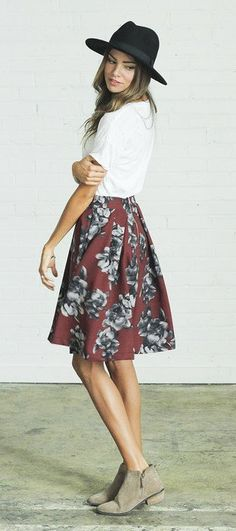 #spring #outfits Black Hat + White Tee + Red Floral Skirt