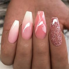 Ballerina Nail Art Tips Transparent/Natural False Coffin Nails Art Tips Flat Shape Full Cover Manicure Fake Nail Tips Gold Nail Designs, Winter Nail Designs, Acrylic Nail Designs, Nails Design, Salon Design, Nails Opi, Pink Nails, Glitter Nails, Pink Glitter