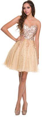 2014 Prom Dresses - Gold Sequin & Tulle Short Prom Dress