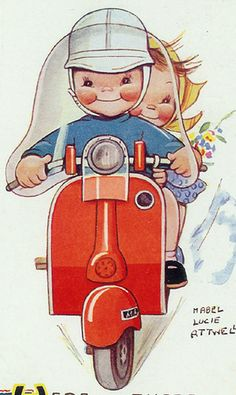 Mabel Lucie Attwell - Children on Vespa Postcard