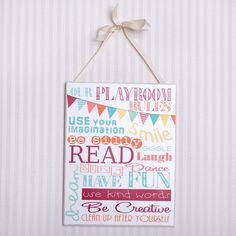 """Our Playroom Rules"" Wall Decor – First of a Kind"