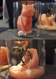 """This candle is equal parts creepy and cool"". - nope. just cool. http://pyropetcandles.com/"
