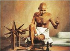 Gandhi using a spinning wheel. Mahatma Gandhi Photos, East India Company, Slovenia, Fun Facts, Cool Photos, Community, Stamp, History, Pictures