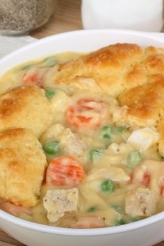 Mom's Fabulous Baked Chicken Pot Pie with Biscuit Crust Recipe using Refrigerated Biscuit Dough, Celery, Carrots, and Peas
