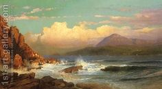 Mt Desert Maine by William Trost Richards Richard Williams, Famous Landscape Paintings, Seascape Paintings, Acrylic Paintings, Traditional Paintings, Traditional Art, Art Through The Ages, Hudson River School, Desert Island