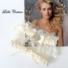 Lace Wedding Garters  Lingerie Romantic bride to by lolliecouture