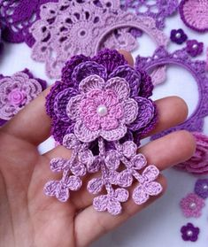 53 Crochet Flower Patterns And What To Do With Them Easy crochet flowers; crochet flowers for hats Crochet Puff Flower, Crochet Flower Patterns, Crochet Mandala, Crochet Motif, Crochet Yarn, Crochet Flowers, Easy Crochet Projects, Unique Crochet, Crochet Gifts