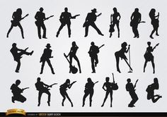 Set with 20 silhouettes of male and female guitar players in different poses. These are nice vectors to use in promos related to music, concerts, guitar classes, rock, pop, etc. High quality JPG included. Under Commons 4.0. Attribution License.