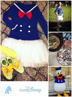 Donald Duck running costume for RunDisney Wine and Dine Half Marathon at WDW 1 1/2 yd of blue knit 6 yd of white tulle 1/2 yd of white lining 1/8 yd of red satin